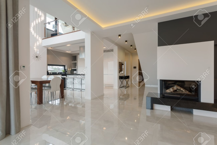 Contemporary designed interior in big expensive house